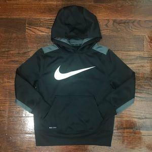 Nike Swoosh Black Dri-Fit Hoodie Sweatshirt Boys S